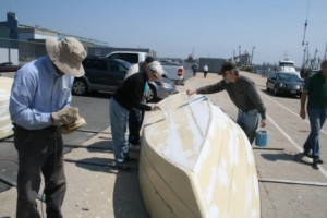 2011 May 7 Alison Robb & Chuck Smiler priming dory