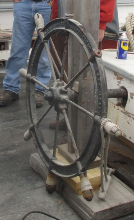 Ernestina's wheel will need to be removed for evaluation to determine the extent of deterioration and the reconstruction necessary.