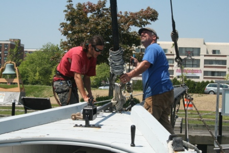 Steve and Willi working on the jib stay