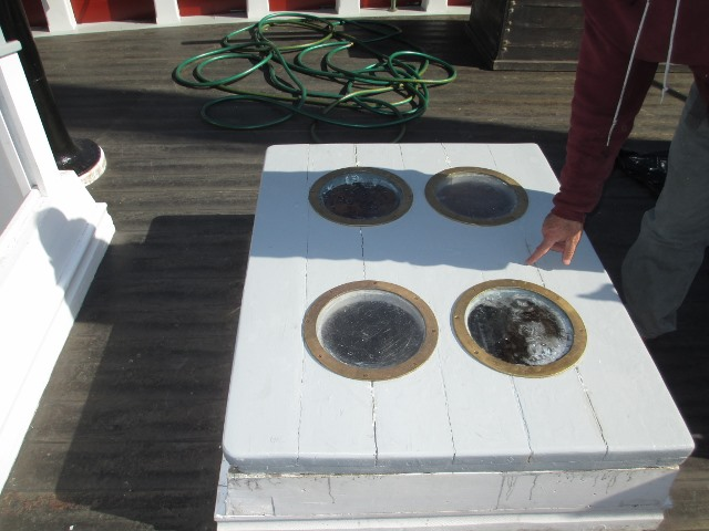 The galley hatch has been re-glazed and repaired.