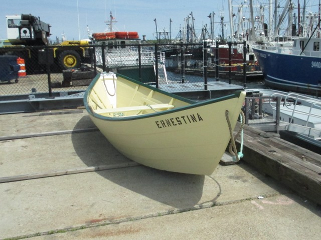 Ernestina's dory is all fixed up and ready to go.