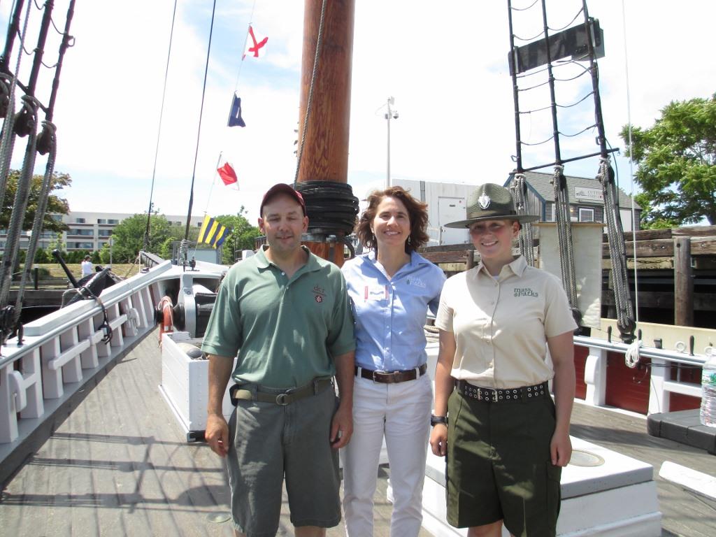 DCR Supervisor Paul Alexio, Priscilla Geigis, DCR Director of the Division of State Parks and Recreation, Leah Burns Park Interpreter