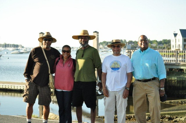 Courtesy photo Julius Britto, second from right, walked with family members from Rochester to the sea to raise money for Schooner Ernestina. From left, the others are Ben Varella's great-grandson Ali Cabral; great-granddaughter, Dr. Vanessa Britto-Henderson; great-grandson, storyteller Len Cabral; and Dr. Galen Henderson (husband of Vanessa Britto). Julius Britto is president of the Schooner Ernestina-Morrissey Association.