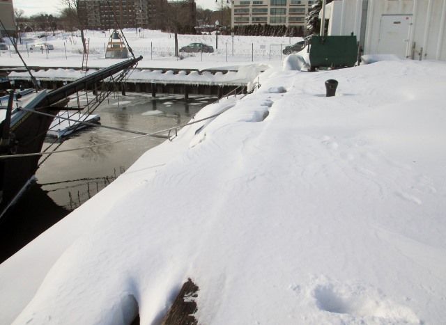The snow was drifted all the way from the floating dock to the top of State Pier