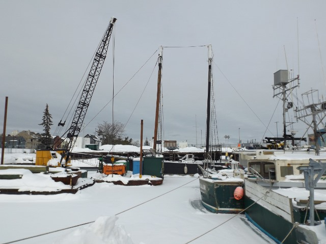 Fresh snow has settled on the ice around Ernestina-Morrissey
