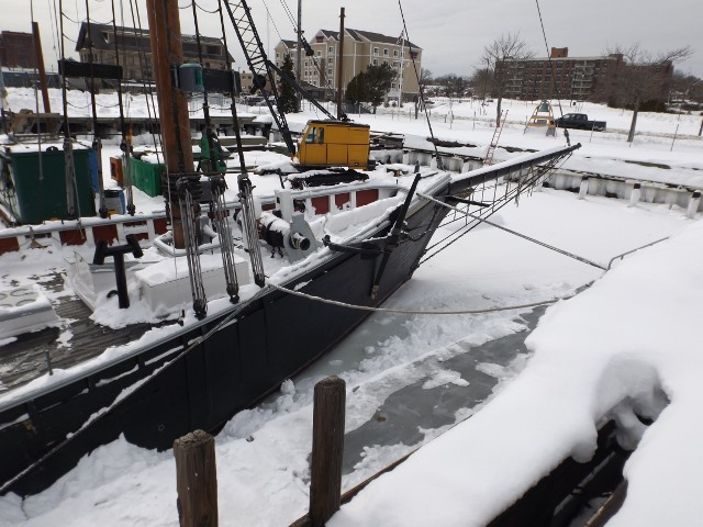 Ice surrounds Ernestina-Morrissey, not close to the ice she has seen when she sailed the Arctic with Captain Bartlett.