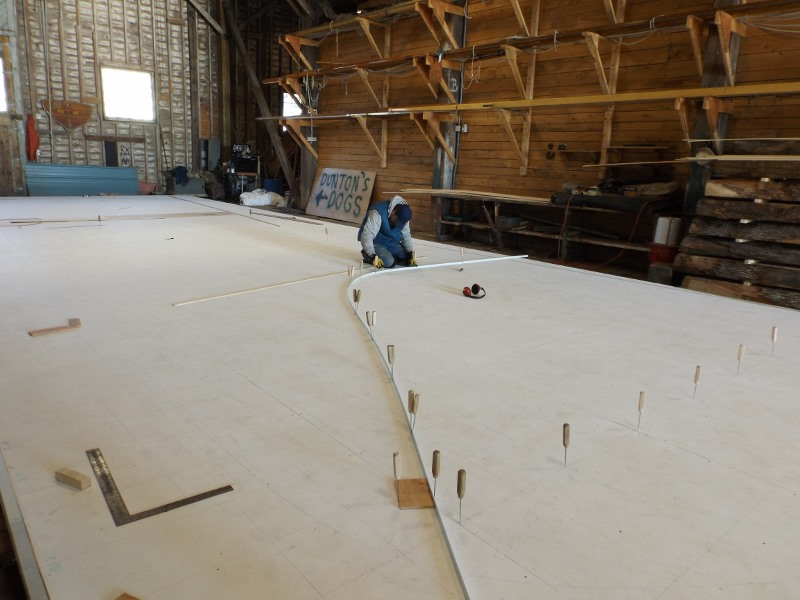Lines are drawn on the lofting table using the table of offsets. The intersection points are marked, in this case with ice picks, then a flexible batten is bent along the line formed.  This curve represents the full-sized shape of the hull at one frame