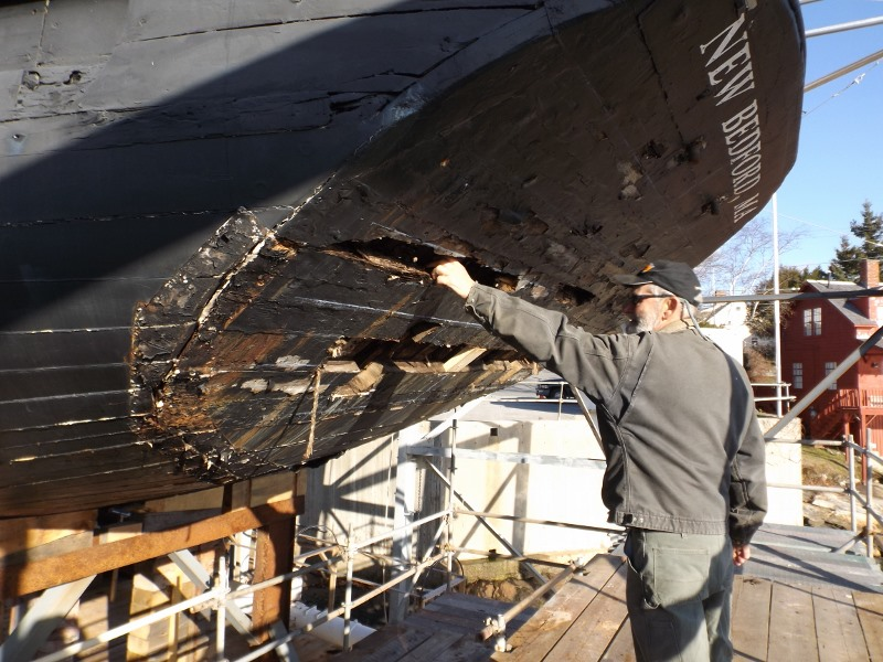 Schooner Ernestina Commissioner observed that the stern is the most obvious problem area of the ship to be addressed with the current project to restore the ship's hull.