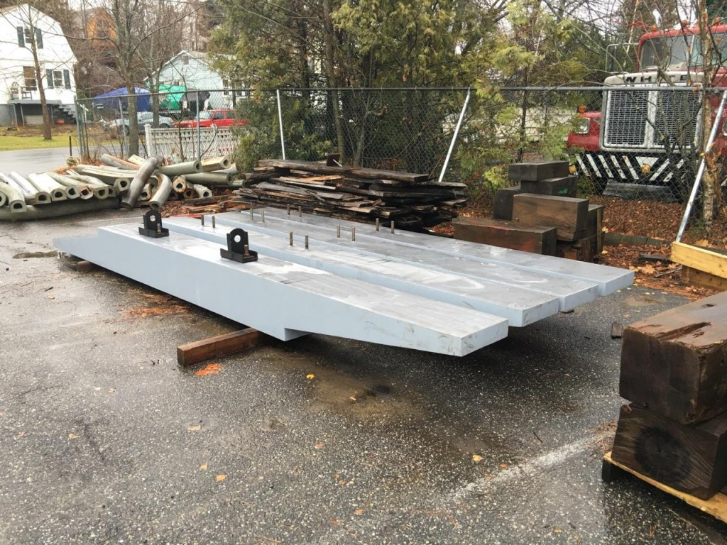 The sections of external ballast for the keel have been delivered from the foundry. credit H.Burnham