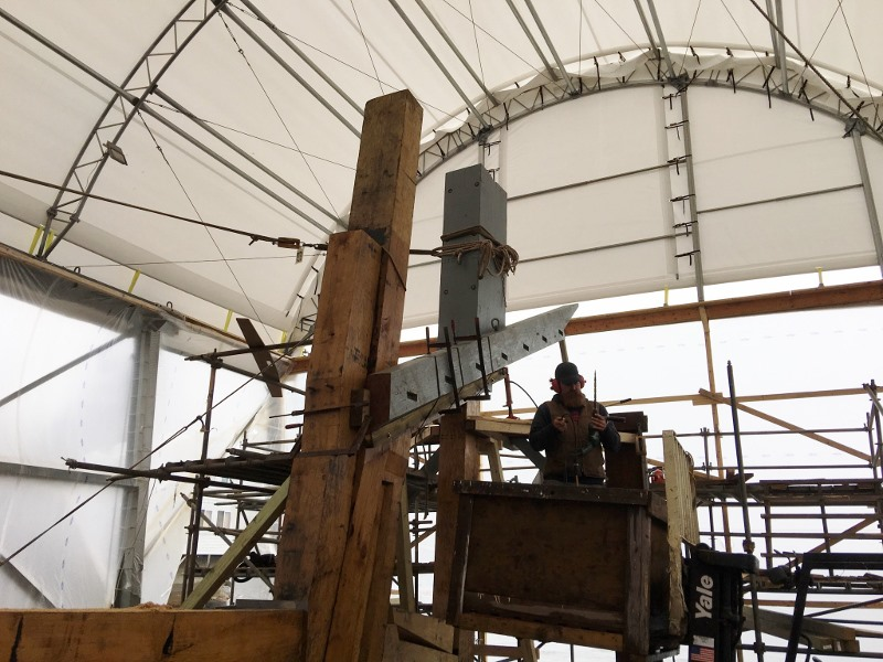 The stern structure is taking shape on Ernestina-Morrissey. The transom will be fitted to the end of the horn timber.