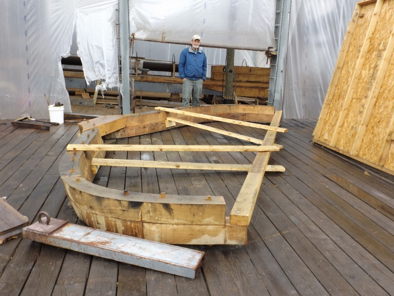 Here's the frame that will go just forward of the stern post.  Fred gives it some scale.