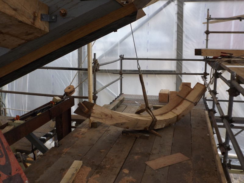 One of the starboard frames ready to position, notice the tenon that will be inserted into the mortice.