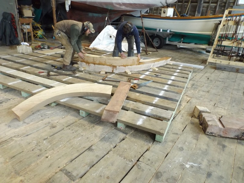 The futtocks are joined into the double-sawn frame.  They will be fastened with trunnels