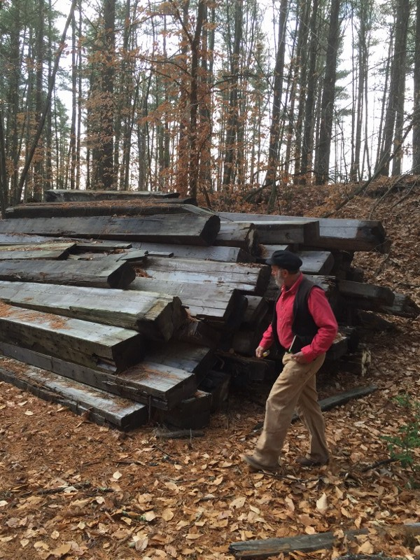 Harold Burnham inspecting the beams.  You can see how substantial they are.
