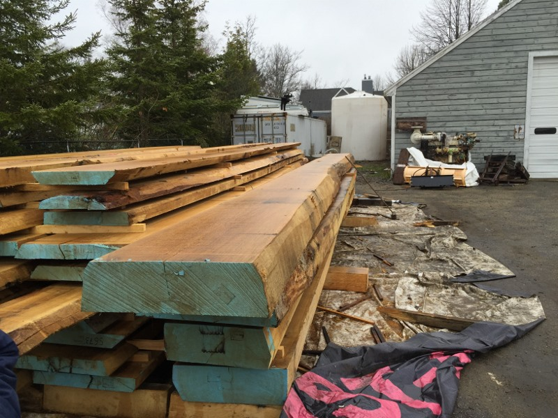 Danish oak : 3 inch thick for planking and 9 inch thick for framing, some 36 feet long
