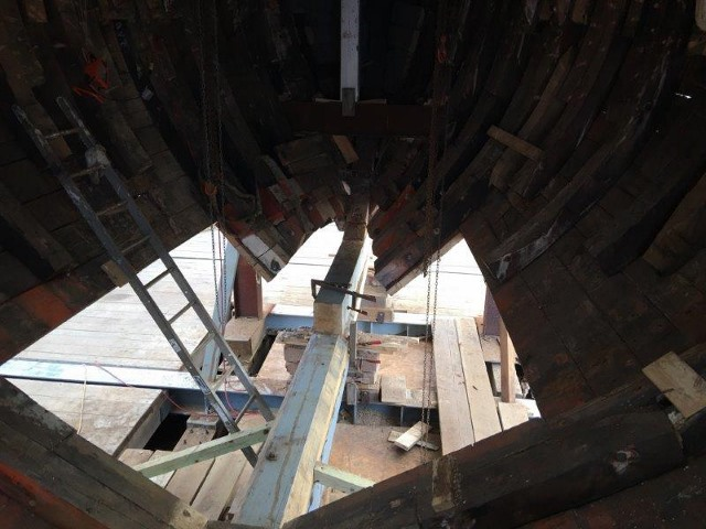 The forward section below the waterline will be rehabilitated to receive the new keelson and be fastened to the new keel.