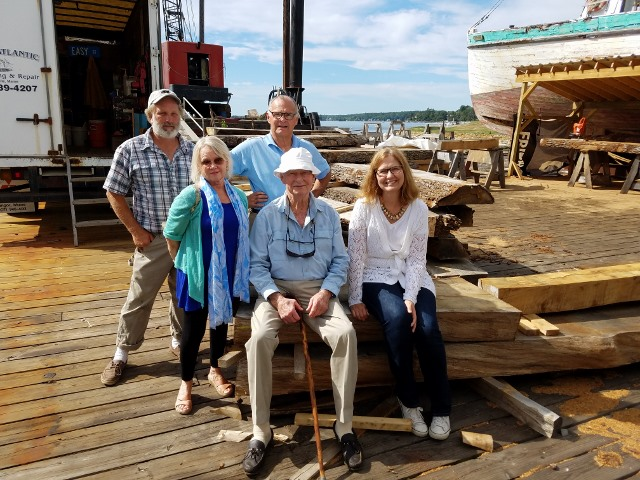 l-r front: Mrs. Hildreth, Gerry Lenfest, Wendy Pearl, (DCR project director), rear: Harold Burnham, Bob Hildreth