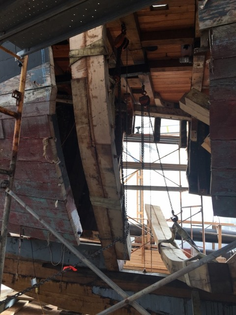 A new frame being installed under the foredeck which was rehabilitated in 2008-2009 and will stay in place.