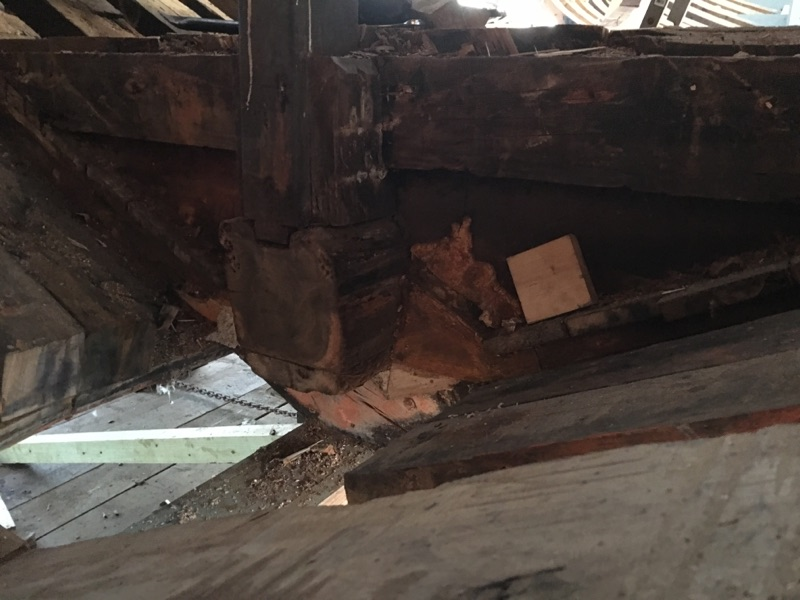 The raw looking wood is an old floor, the grey painted area with debris on it is the new keel.  Above the floor is the original keelson, still supporting the deck.