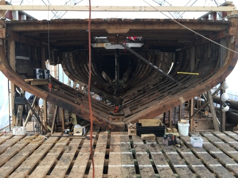 On the port side you can see the gap that still needs to be filled with new frames.  credit Harold Burnham