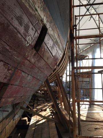 The square hole held the I beam that was supporting the forward section of the ship.  credit Harold Burnham