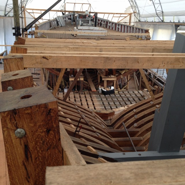 "Looking forward from the transom at the level of the weather deck.  The aft ""deck beams"" are just temporary bracing. credit Phil Smith"