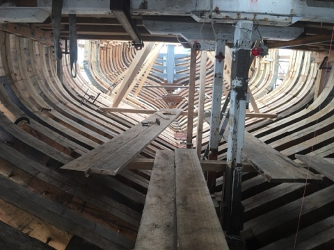 Here's am interior shot of the framing done from forepeak looking aft credit Harold Burnham