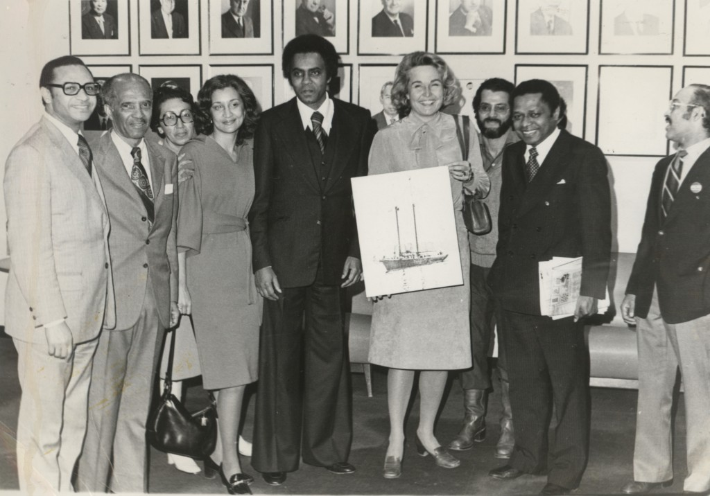 The Ernestina Committee consisting of Armando Perry, Cecelia Monte, Laura Pires-Hester, Eddie Andrade, Joe Monte, Luis Fernandes, and American Ambassador Melissa Wells meeting Cape Verdean Ambassador Amaro daLuz at the United Nations
