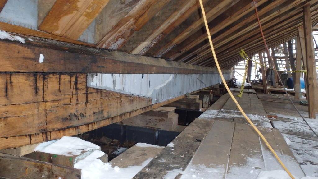 Here you can see the oak keel with the lead ballast keel inserted for part of its length.