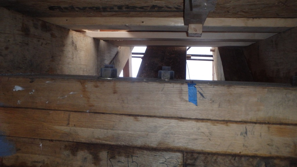 "A close look at the laminated keelson. The bronze nut caps a rod that passes down through the layers of keelson, through the overlapping ""hockey stick"" futtocks and through the keel fastening the backbone of Ernestina-Morrissey together. on the left, on top of the keelson you can see a floor timber topped by temporary plywood.."