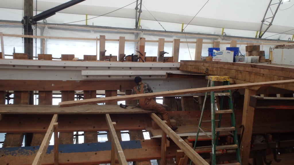 Looking to the port side, the deck beam on the right is at the break in the deck. The top-timbers or stanchions which will support the bulwarks are going in between the frame ends, fastened to the sheer clamp.  Again, you can see the stringers.  You can also see the bronze bolts which hold the sheer shelf structure together.