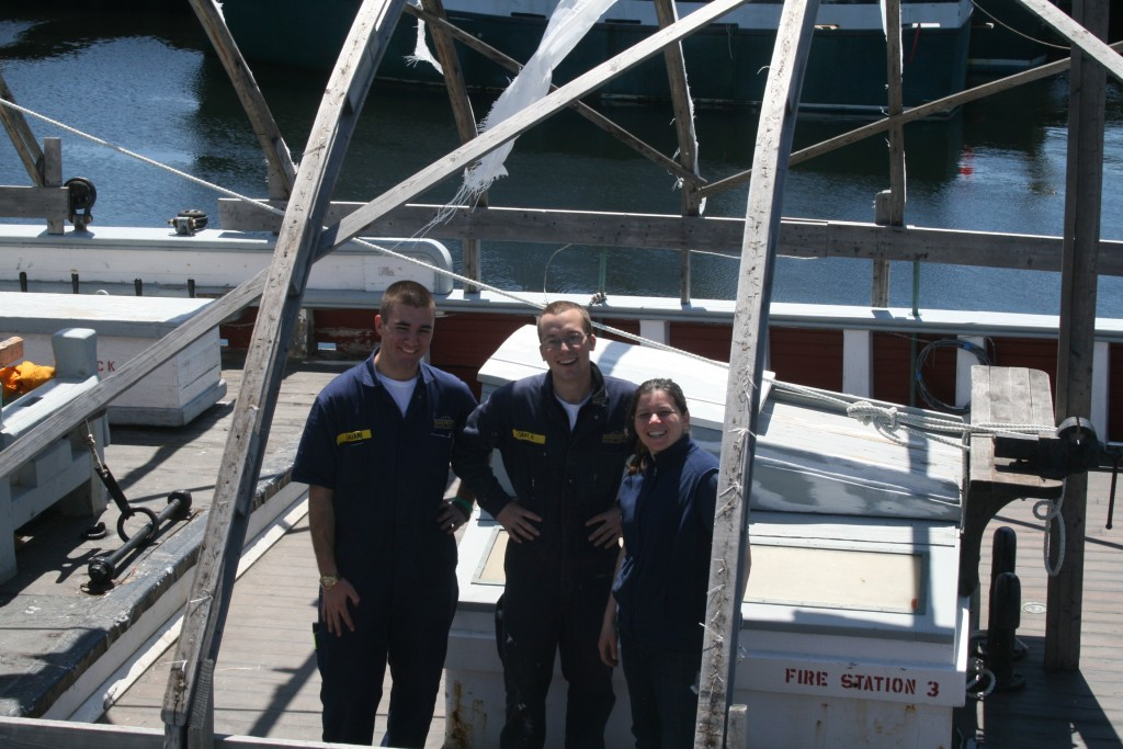 Melissa on right, with two MMA cadets at a Ernestina Work Day in the spring of 2012.