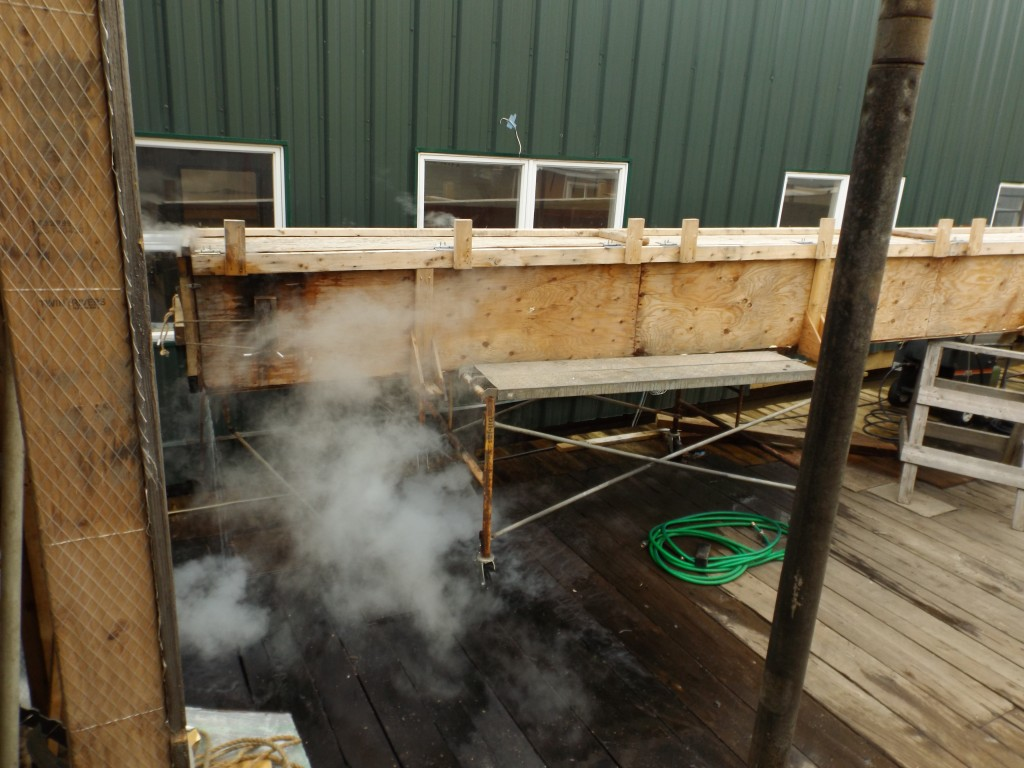 Time in the steam box makes the plank hot and wet and easier to bend into place on the frame.  The 3 inch planks are steamed for 3 hours, 1 hour per inch.
