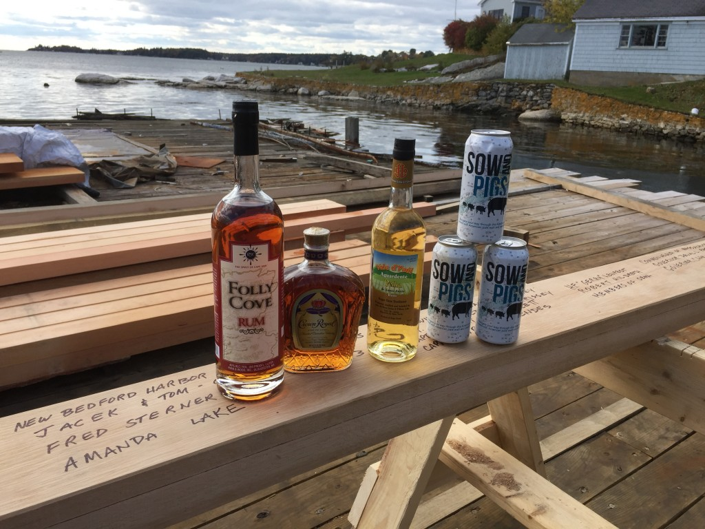 Gloucester's #RyanandWood Folly Cove Rum, Canadian Whiskey, New Bedford's #BiscaClub 's Cape Verdean Grogue and South Coast's #BuzzardsBayBrew 's Sow and Pigs. Representing all the parts of Ernestina-Morrissey's history.
