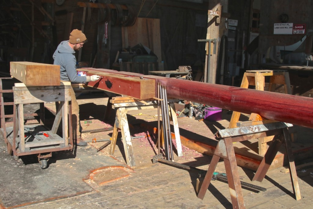 David prepares the surface for the next section of the rudder. Photo Credit: Mitchell Photography