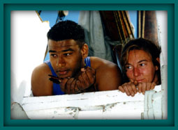 Joe onboard Ernestina in 1995 with another crewmate.