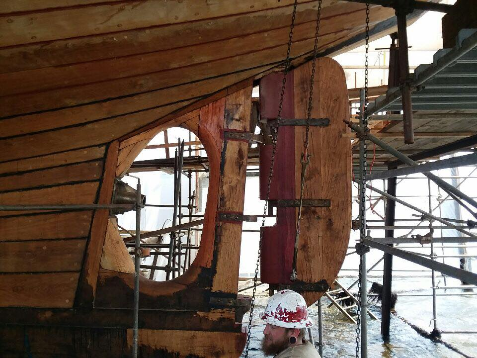 The pintles are lined up with the holes in the gudgeons. credit North Atlantic Shipbuilding & Repair