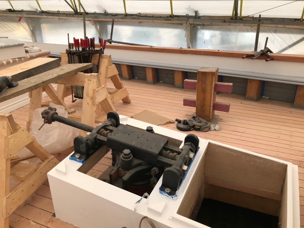 The steering gear has been restored and installed  on the purple heart rudder shaft and is ready for the wheel.  credit Dave Thompson http://www.ernestina.org/news/rudder/attachment/6-top-of-rudder-post-credit-north-atlantic-shipbuilding-repair/