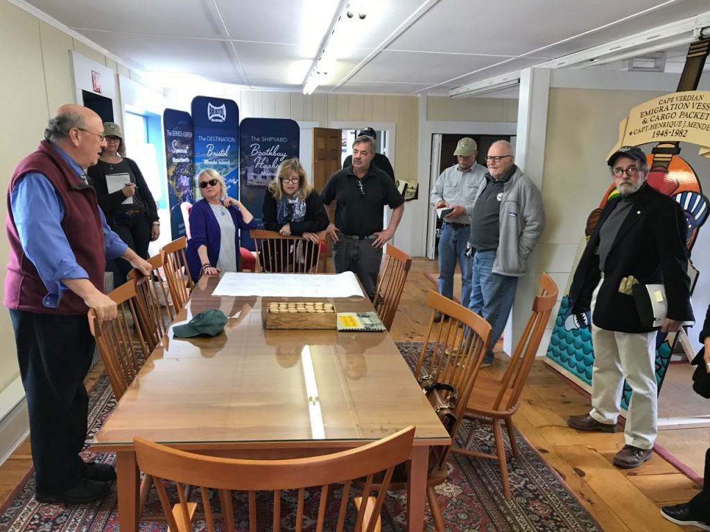DCR Commissioner Leo Roy and members of the Schooner Ernestina Commission met in Boothbay Harbor on May 31 to inspect Ernestina-Morrissey. credit John Bullard