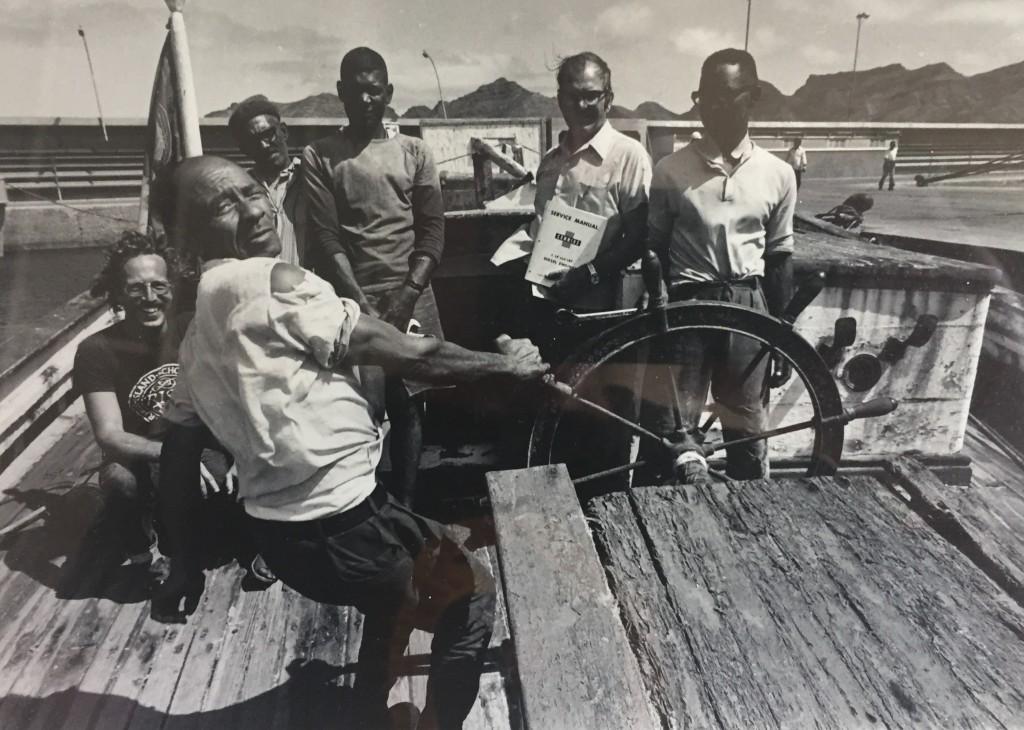 Bajanga at helm. John on the left. credit John Braman