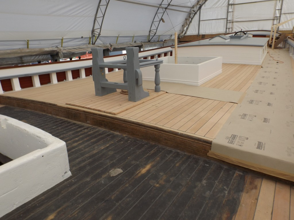 Looking aft to the new aft deck and deck houses and in the foreground, the deck installed during the 2009 rebuild