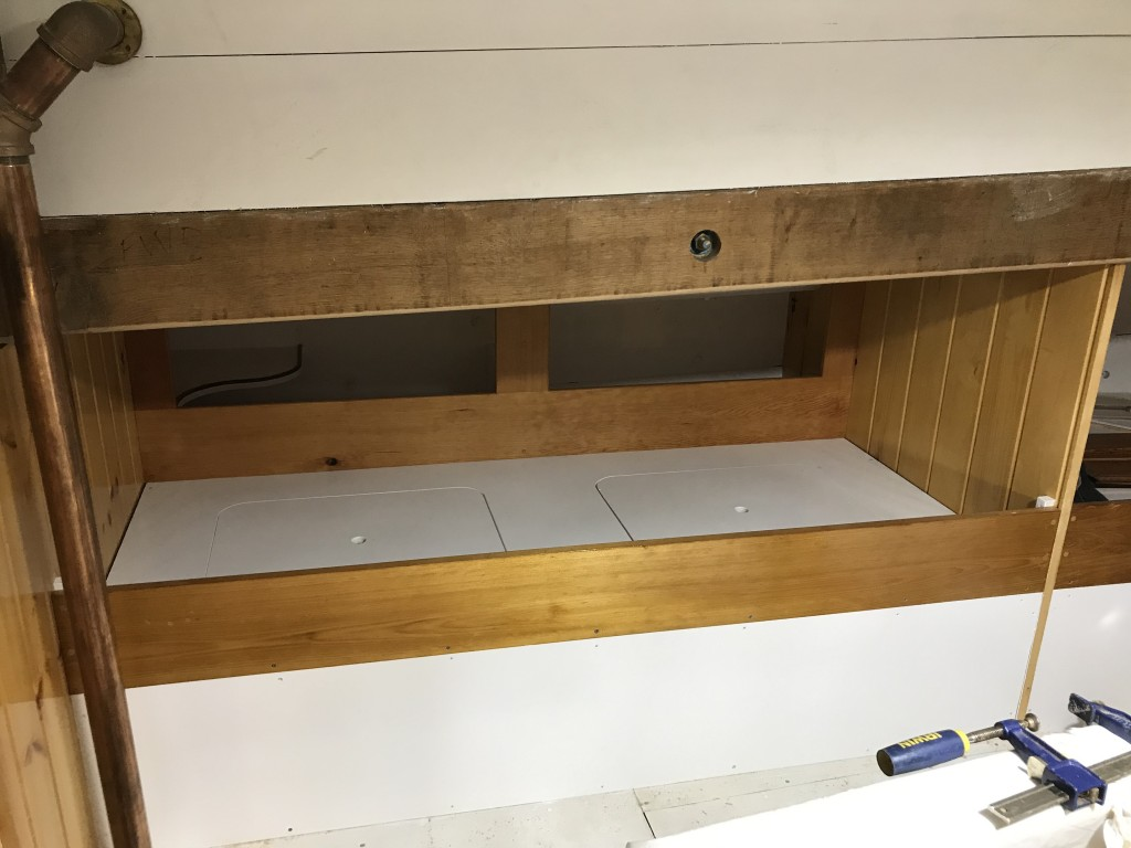 The Aft Cabin will serve as the Officers Quarters, and the construction of this space will be the most detailed in the ship.  These beautifully crafted bunks are nearing completion.  Notice the mahogany trimmed shelf in the back corner.