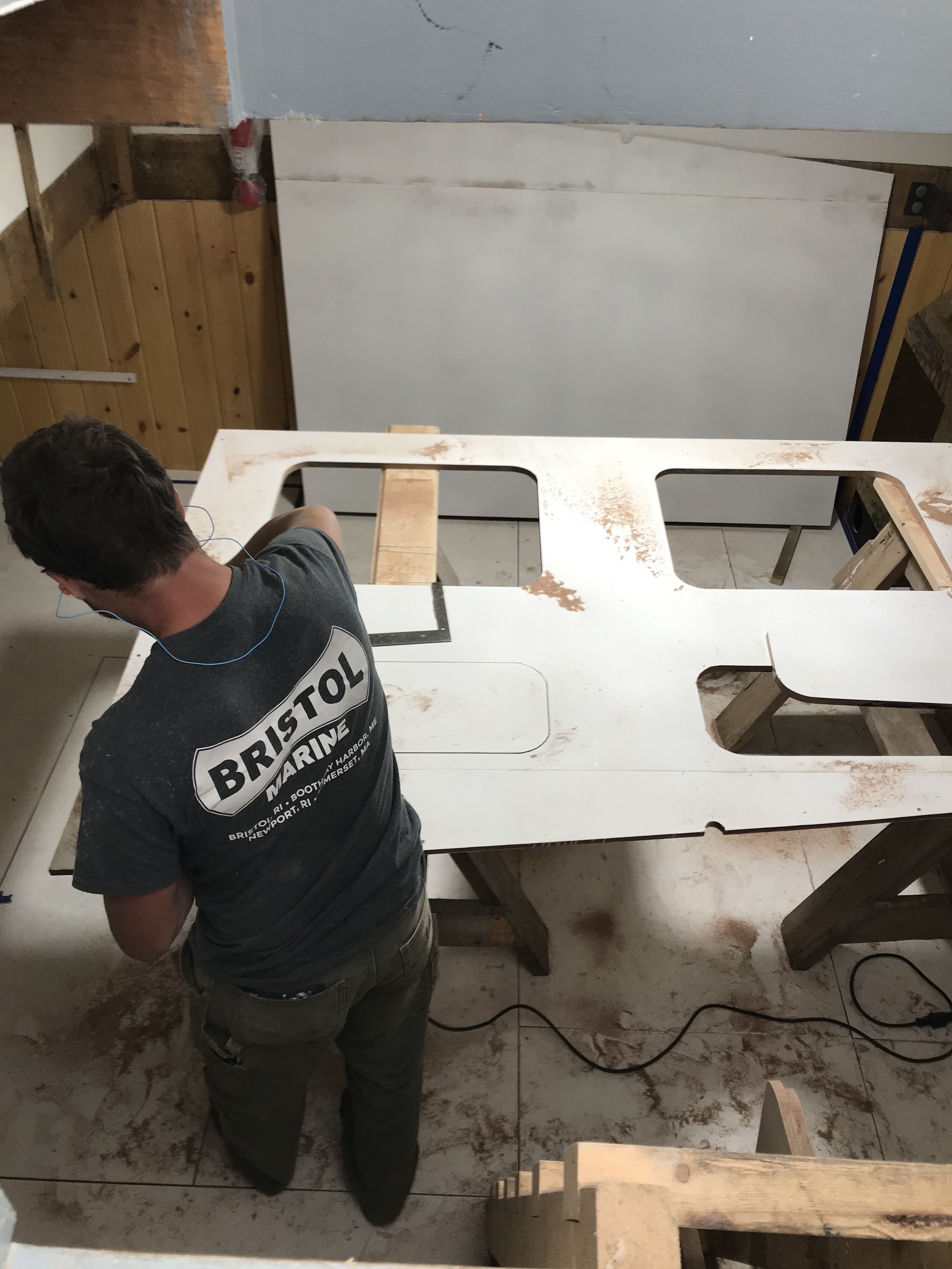 Shipwright Dave Thorpe fitting out the Aft Cabin with one of four bunks designed to original specifications.  This cabin will closely resemble the original layout as-built in 1894.