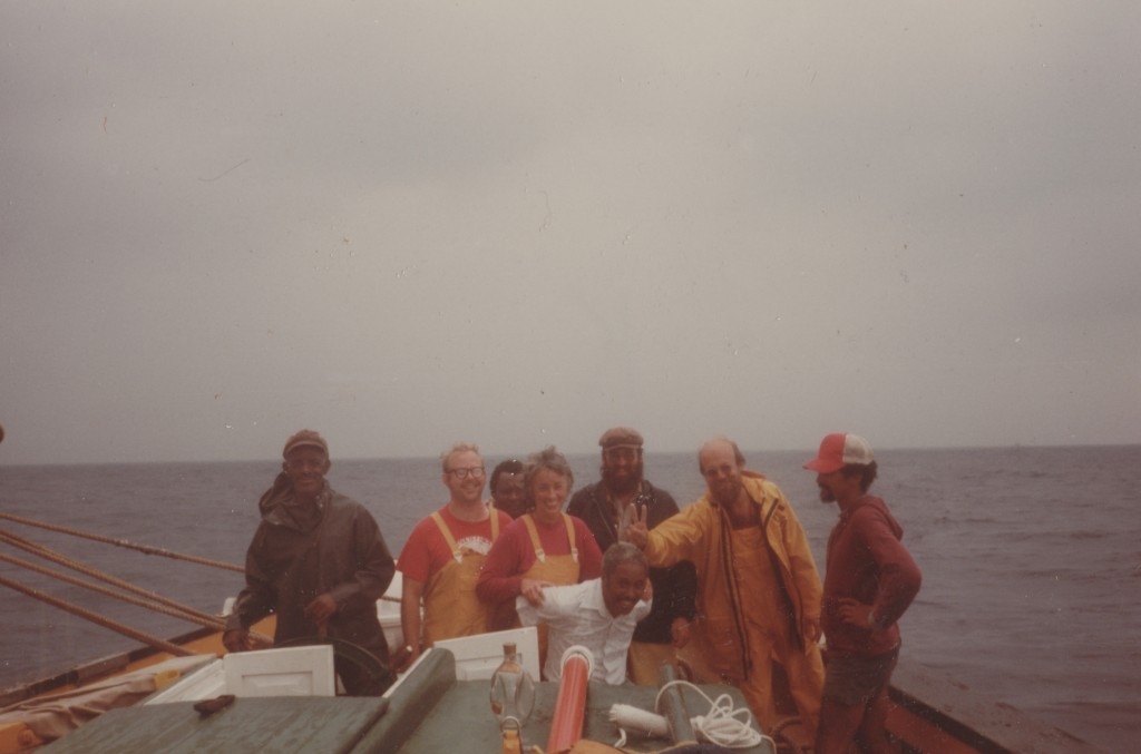 cape Verdean Captain Marcos Lopes (left) and US Captain Norman Gomes (right) ib the repatriation voyage, 1982                right