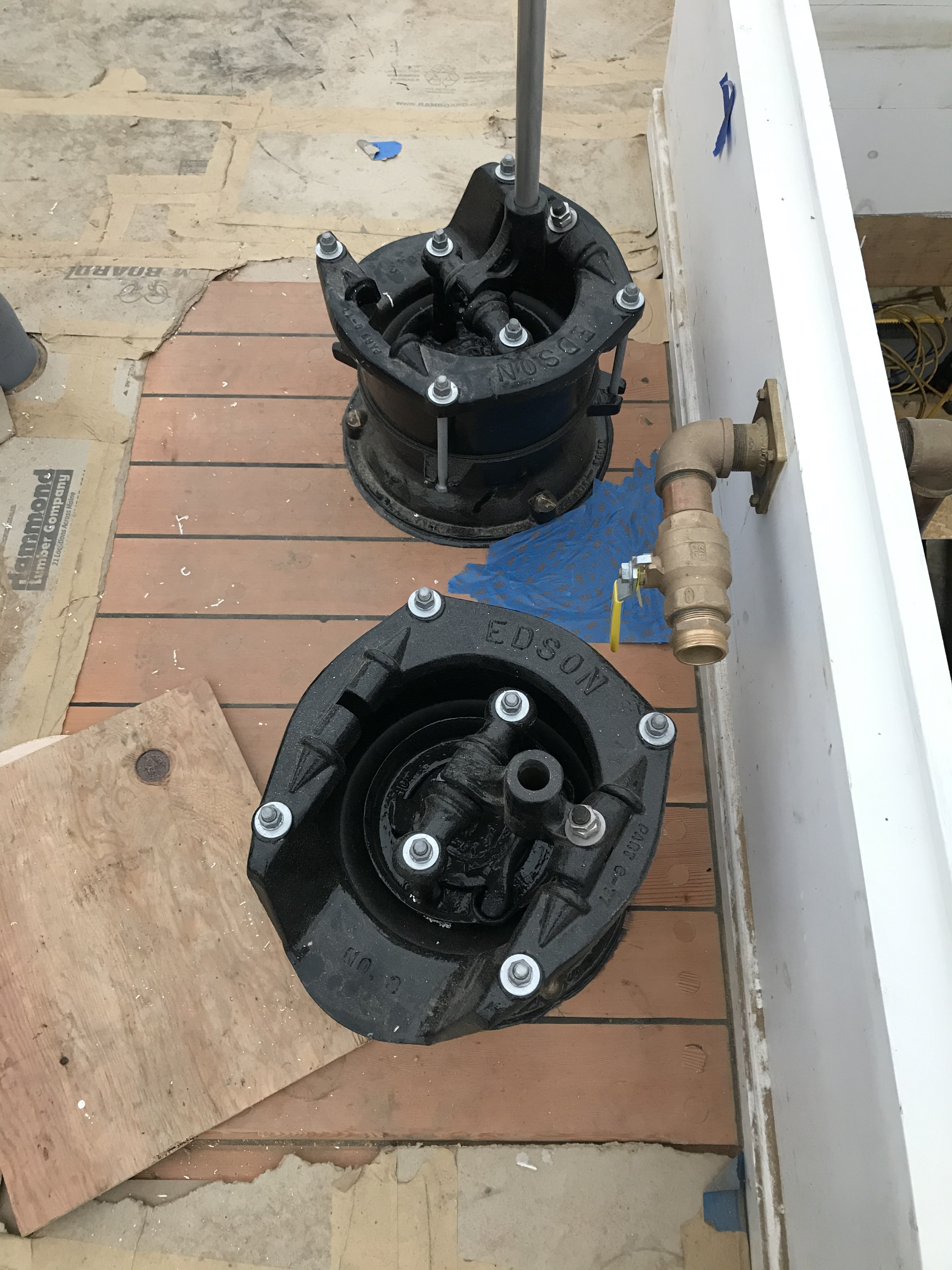 These pumps arrived on the Ernestina when it arrived at Boothbay Shipyard in 2014.  Edson was particularly excited to have an opportunity to restore these vintage pumps to their original condition.  They have been recently returned and installed in the same position they were for decades prior on Ernestina-Morrissey.
