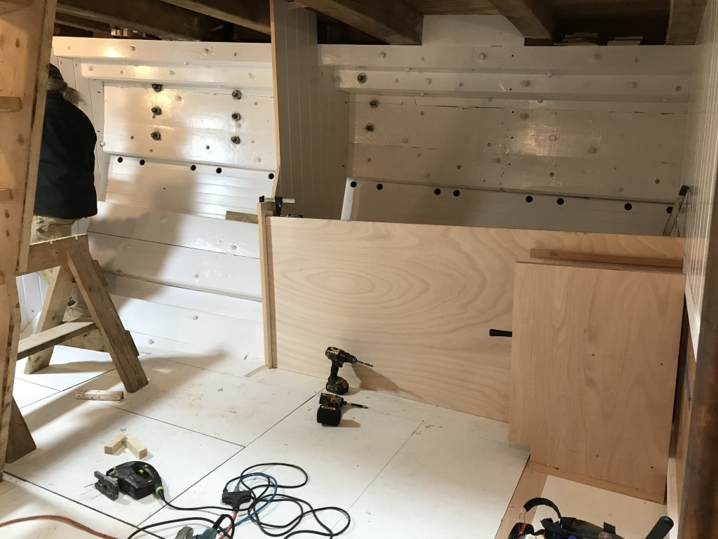 For the past few weeks, our shipwrights have been busy in the Foc'sle building out the accommodation spaces.  This area of the ship will include the Galley, 12 berths for the crew, a head, and a dining table.