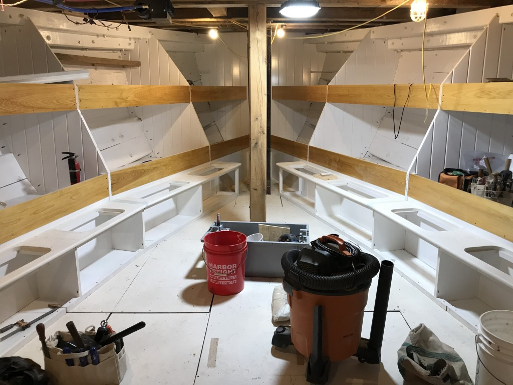 The Foc'sle (forward cabin) is looking terrific.  With the bunks completed, work will pivot into the Main Cabin and galley space.  It is exciting to imagine a full compliment of crew filling these bunks in the future