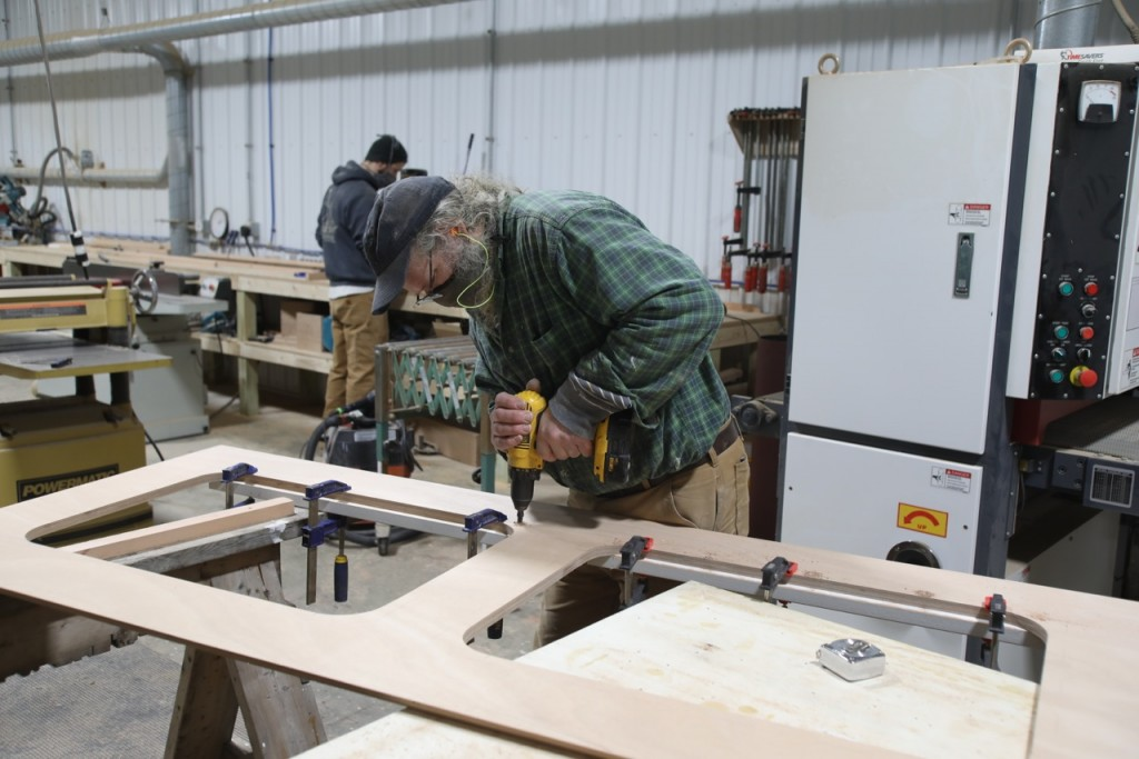 Tom Gerhardt is working hard in the cabinetry shop preparing new cabinet installations for the accommodation spaces.  The cabinetry shop has been a very busy space this winter.  A separate team of carpenters prepares the various pieces for installation in this shop first before final fitting on the ship.