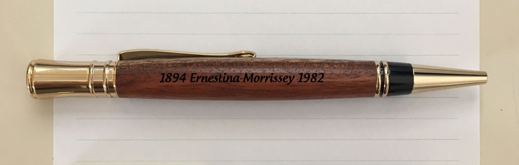 This pen, made of African hardwood, part of Ernestina's framing for 40 years, commemorates that gift.