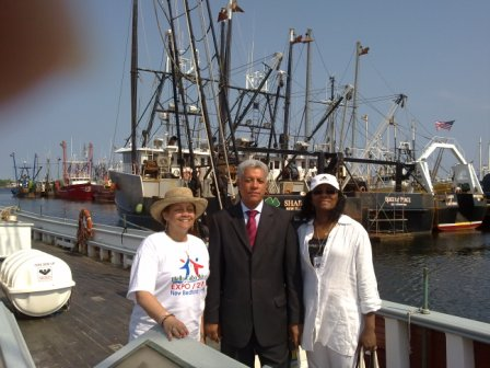 Barbara Burgo, Manuel Inocencio, Gungs Tavares onboard Ernestina in New Bedford Harbor